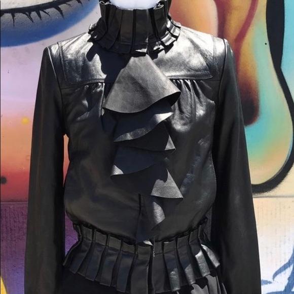Diane Von Furstenberg Jackets & Blazers - Diane Von Furstenberg Ruffle leather bomber